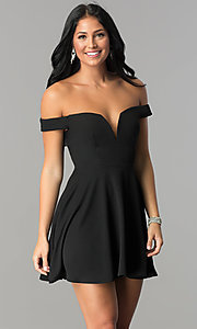 Image of off-the-shoulder v-neck short homecoming dress. Style: TW-4312 Front Image
