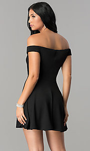 Image of off-the-shoulder v-neck short homecoming dress. Style: TW-4312 Detail Image 1