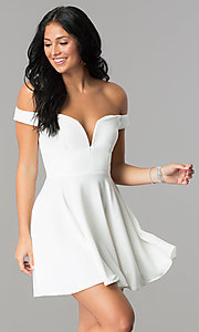 Image of off-the-shoulder v-neck short homecoming dress. Style: TW-4312 Detail Image 2