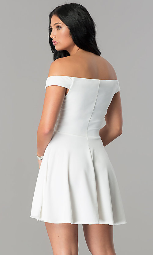 Image of off-the-shoulder v-neck short homecoming dress. Style: TW-4312 Back Image