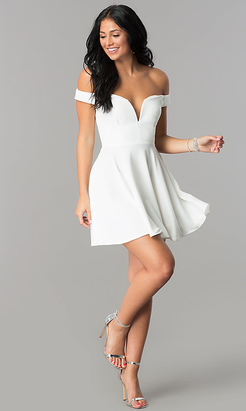 Image of off-the-shoulder v-neck short homecoming dress. Style: TW-4312 Detail Image 3