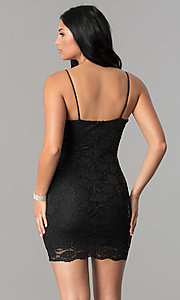 Image of bodycon short black lace v-neck homecoming dress. Style: TW-4316 Back Image