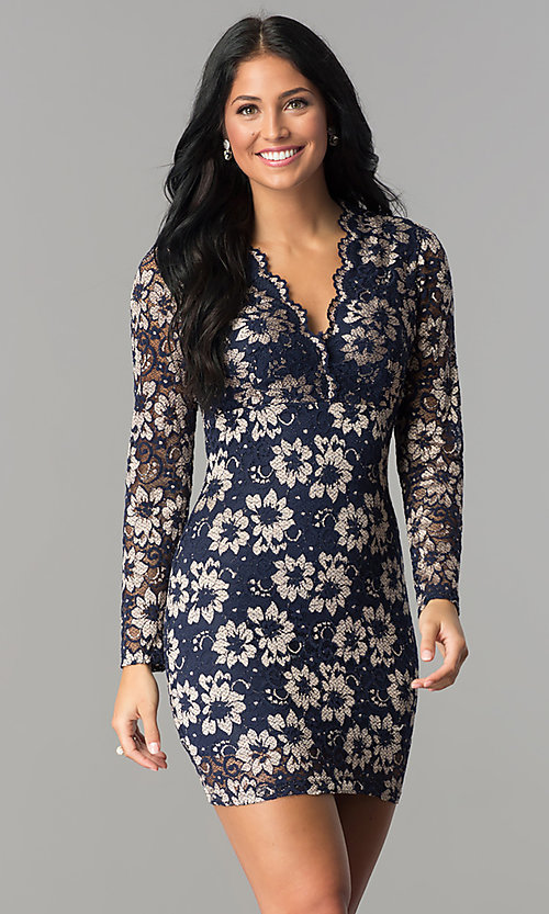 Image of long-sleeve v-neck navy blue lace homecoming dress. Style: TW-4325 Front Image