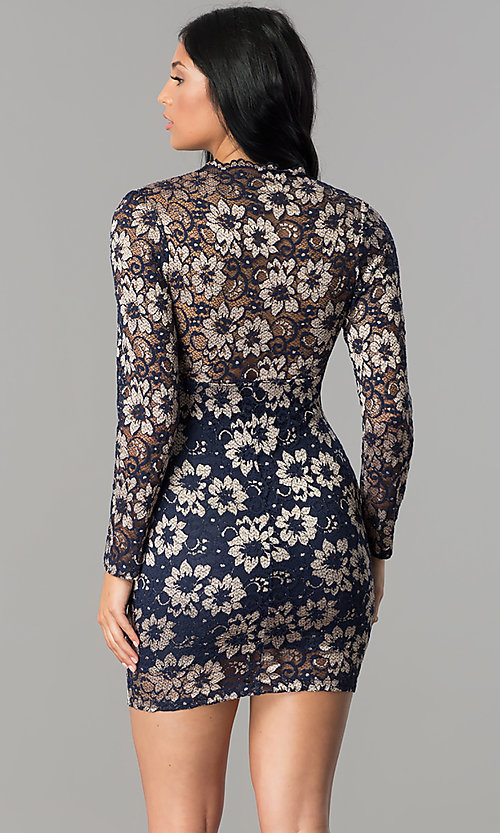 Image of long-sleeve v-neck navy blue lace homecoming dress. Style: TW-4325 Back Image
