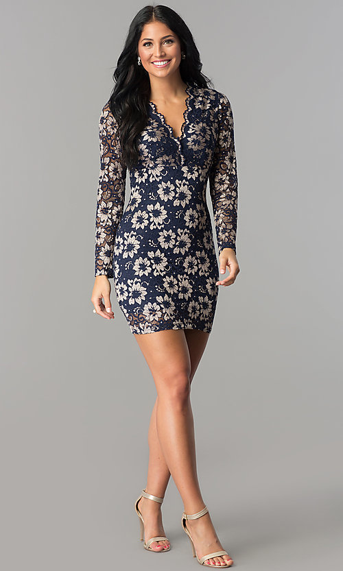 Image of long-sleeve v-neck navy blue lace homecoming dress. Style: TW-4325 Detail Image 1