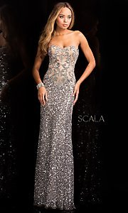 Long Sequin Strapless Prom Dress by Scala