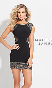 Short Madison James Homecoming Dress with Beaded Hem