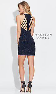 Short Beaded High-Neck Madison James Homecoming Dress