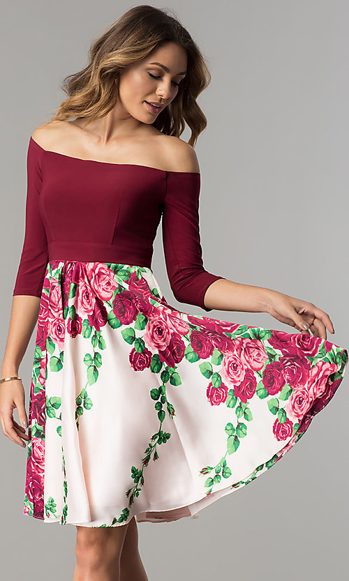 Image of short burgundy red off-shoulder homecoming dress. Style: MB-7192 Front Image