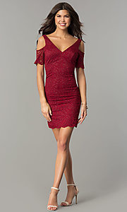 Image of v-neck short lace wedding-guest party dress. Style: MB-7181 Detail Image 3