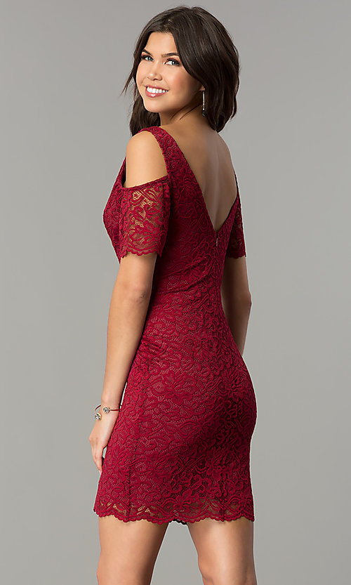 Image of v-neck short lace wedding-guest party dress. Style: MB-7181 Front Image
