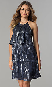 Short Navy Blue Metallic Print Halter Dress
