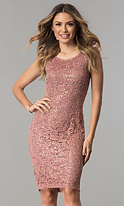 Image of lace and sequin wedding-guest short party dress. Style: MB-7190 Front Image