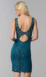 Image of lace and sequin wedding-guest short party dress. Style: MB-7190 Back Image