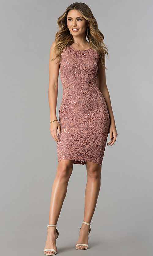 Image of lace and sequin wedding-guest short party dress. Style: MB-7190 Detail Image 2