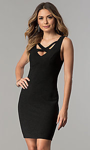 Short Cut-Out V-Neck Metallic Black Party Dress