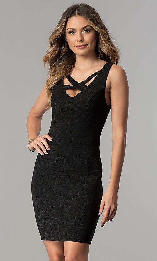 Image of short cut-out v-neck metallic black party dress.  Style: MB-7147 Front Image
