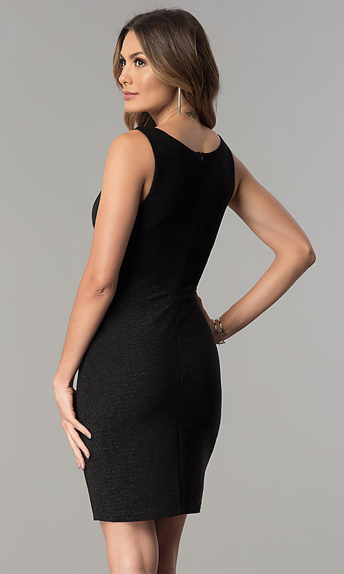 Image of short cut-out v-neck metallic black party dress.  Style: MB-7147 Back Image