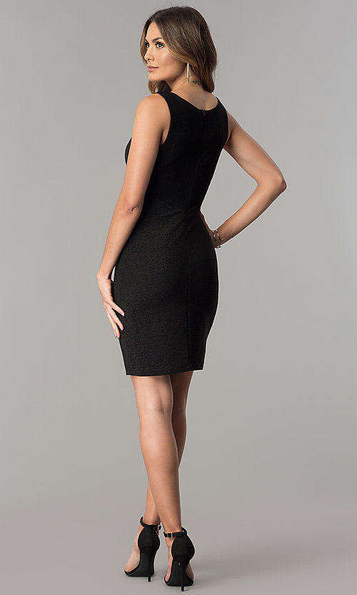 Image of short cut-out v-neck metallic black party dress.  Style: MB-7147 Detail Image 3