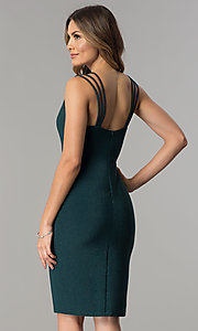 Image of metallic jersey short v-neck party dress with straps. Style: MB-7144 Back Image