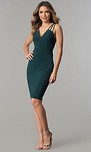 Image of metallic jersey short v-neck party dress with straps. Style: MB-7144 Detail Image 2