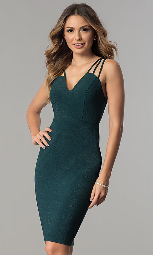 Image of metallic jersey short v-neck party dress with straps. Style: MB-7144 Front Image