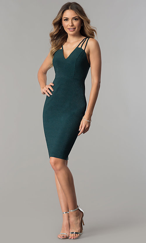 Image of metallic jersey short v-neck party dress with straps. Style: MB-7144 Detail Image 3