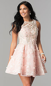 Short Homecoming Dress with Embroidery and Applique