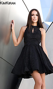 Image of short lace homecoming dress with keyhole cut out. Style: SK-Kim-24083 Front Image