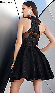 Image of short lace homecoming dress with keyhole cut out. Style: SK-Kim-24083 Back Image
