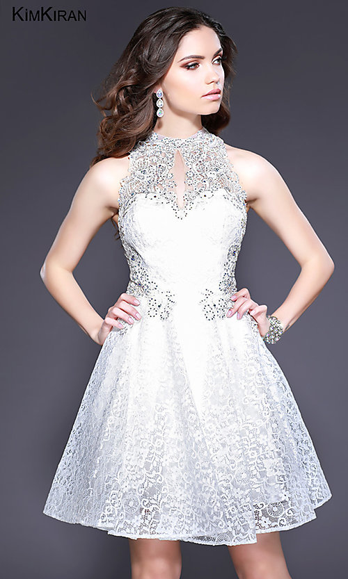 Image of short lace homecoming dress with keyhole cut out. Style: SK-Kim-24083 Detail Image 1