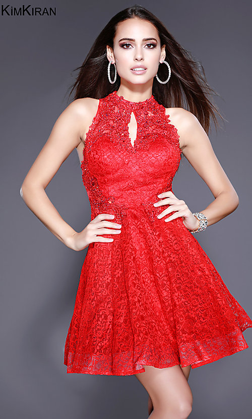 Image of short lace homecoming dress with keyhole cut out. Style: SK-Kim-24083 Detail Image 2