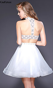 Image of short open-back a-line homecoming dress with collar. Style: SK-Kim-21715 Back Image