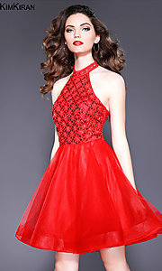 Image of short open-back a-line homecoming dress with collar. Style: SK-Kim-21715 Detail Image 3