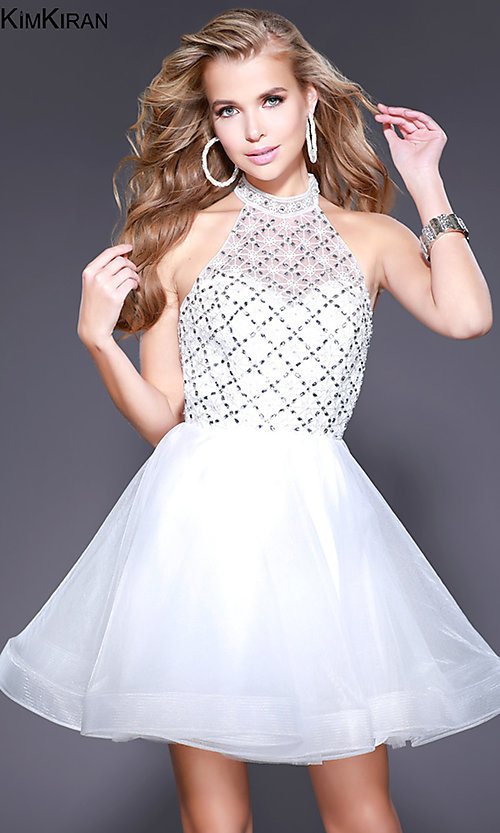 Image of short open-back a-line homecoming dress with collar. Style: SK-Kim-21715 Front Image
