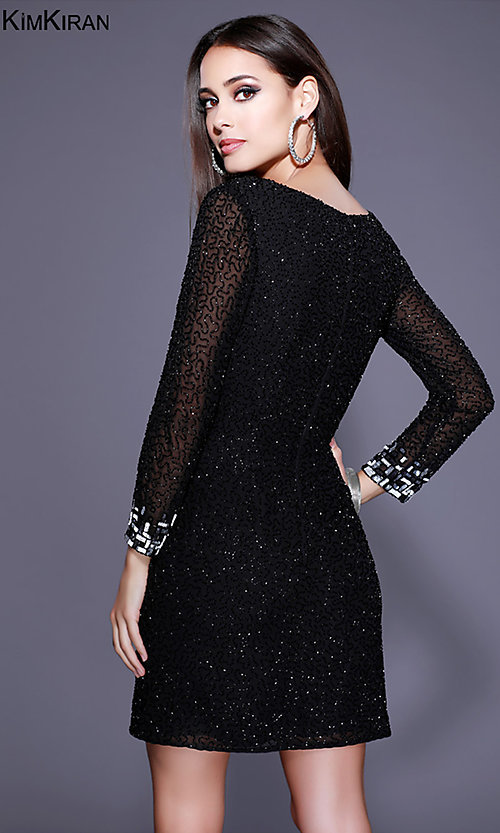 Image of short beaded homecoming dress with illusion sleeves. Style: SK-Kim-21248 Back Image