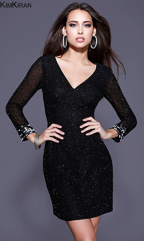 Image of short beaded homecoming dress with illusion sleeves. Style: SK-Kim-21248 Front Image