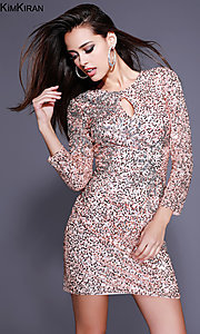 Short Sleeved Sequin Homecoming Dress with Key Hole Cut Out