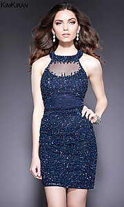 Short Open Back Kim Kiran Beaded Homecoming Dress