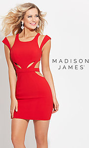 Short Cut Out Open Back Madison James Homecoming Dress