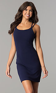 Image of open-back short homecoming party dress in navy blue. Style: JOJ-JE-17531PG Front Image