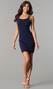 Image of open-back short homecoming party dress in navy blue. Style: JOJ-JE-17531PG Detail Image 1