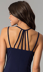 Image of open-back short homecoming party dress in navy blue. Style: JOJ-JE-17531PG Detail Image 2