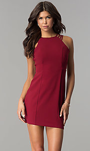 Image of short burgundy multi-strap homecoming party dress. Style: JOJ-JE-17532PG Front Image