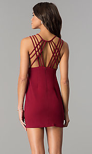 Image of short burgundy multi-strap homecoming party dress. Style: JOJ-JE-17532PG Back Image