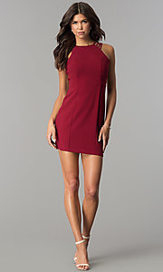 Image of short burgundy multi-strap homecoming party dress. Style: JOJ-JE-17532PG Detail Image 3