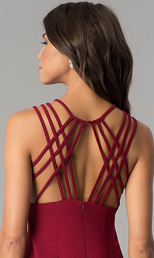 Image of short burgundy multi-strap homecoming party dress. Style: JOJ-JE-17532PG Detail Image 2