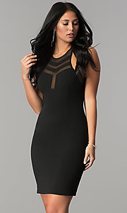 Short Black Homecoming Dress with Illusion Cut Outs
