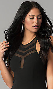 Image of short black homecoming dress with illusion cut outs. Style: JOJ-JE-17536PG Detail Image 1