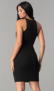 Image of short black homecoming dress with illusion cut outs. Style: JOJ-JE-17536PG Back Image